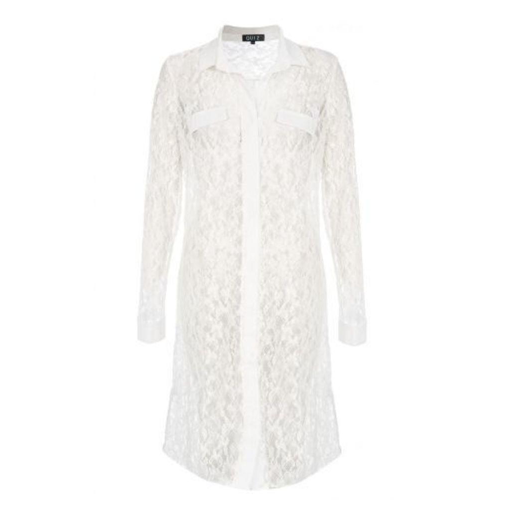 Cream Lace Long Sleeve Shirt