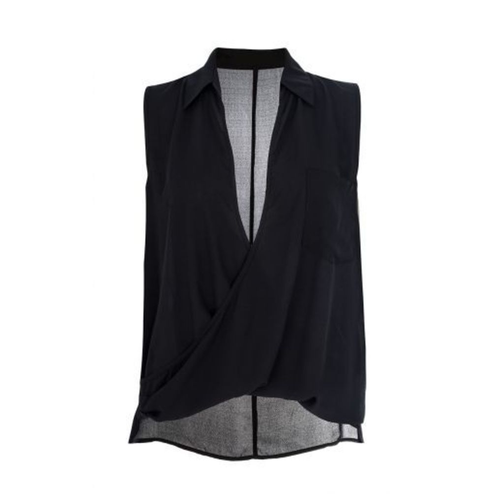 Black Chiffon Sleeveless Wrap Blouse