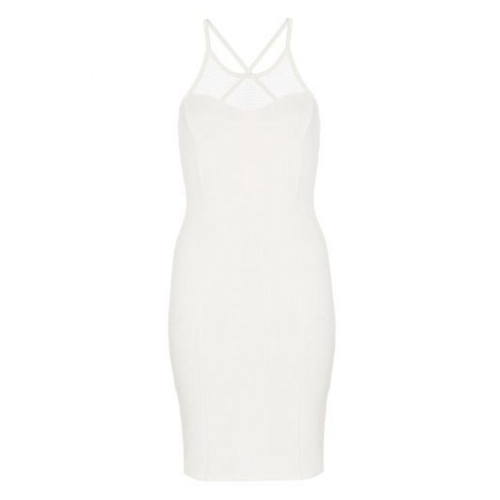 Cream Textured Bodycon Dress