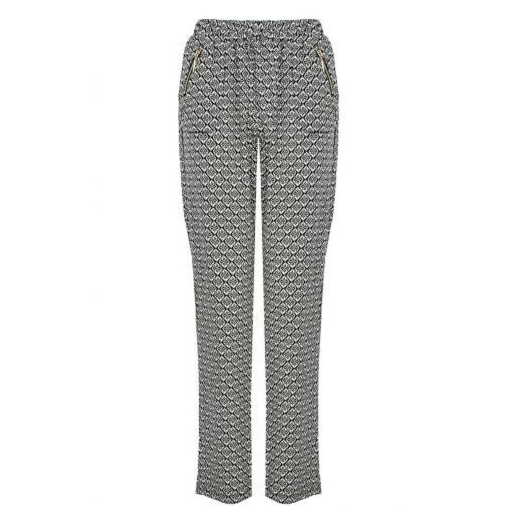 Black Tile Print Trousers