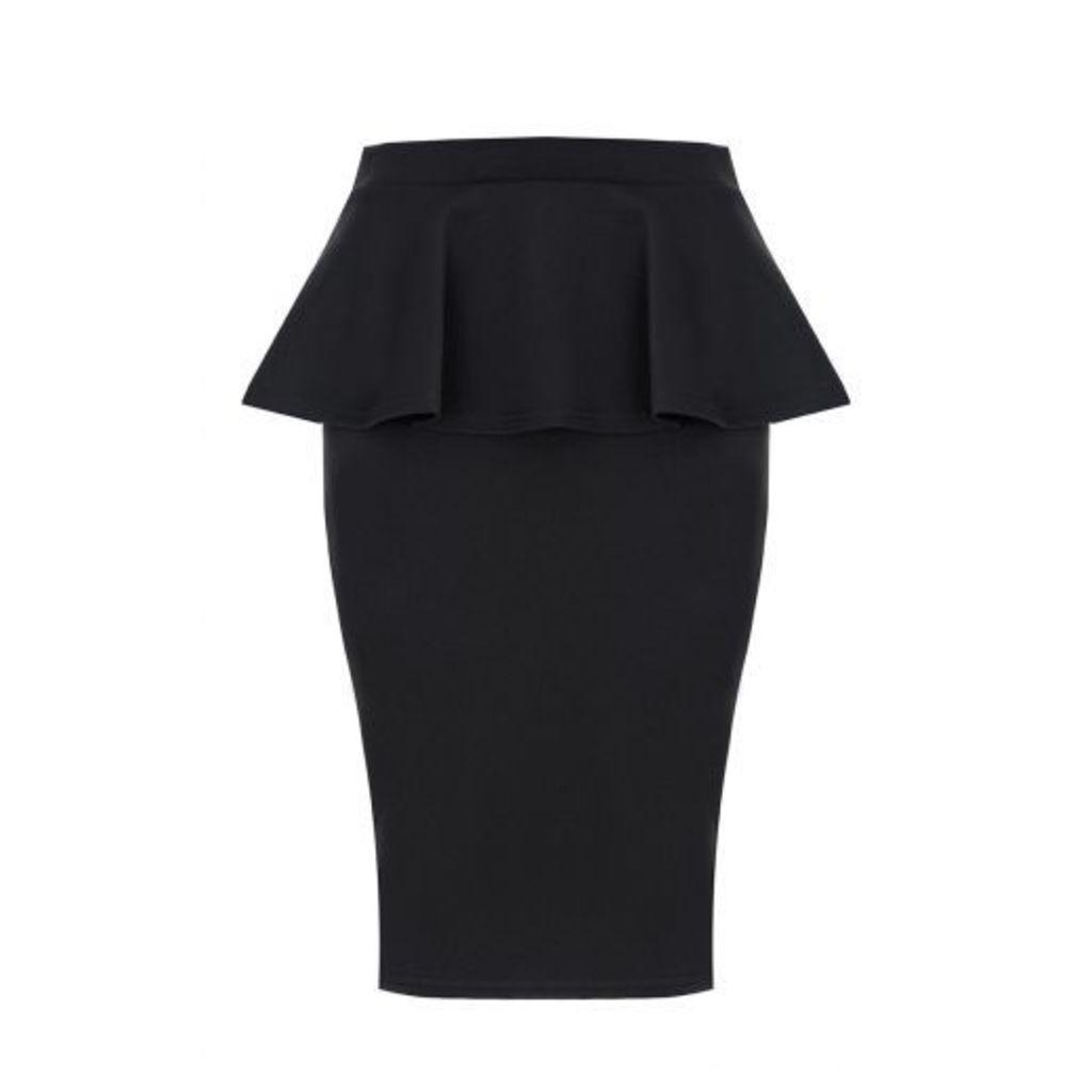Black Marcella Peplum Skirt