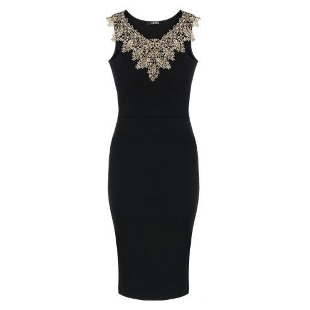 Black And Gold Lace Neck Bodycon Dress