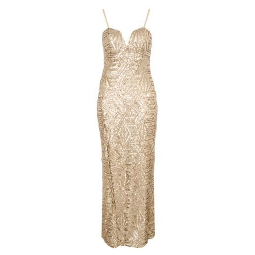 Gold Sequin Split Front Maxi Dress