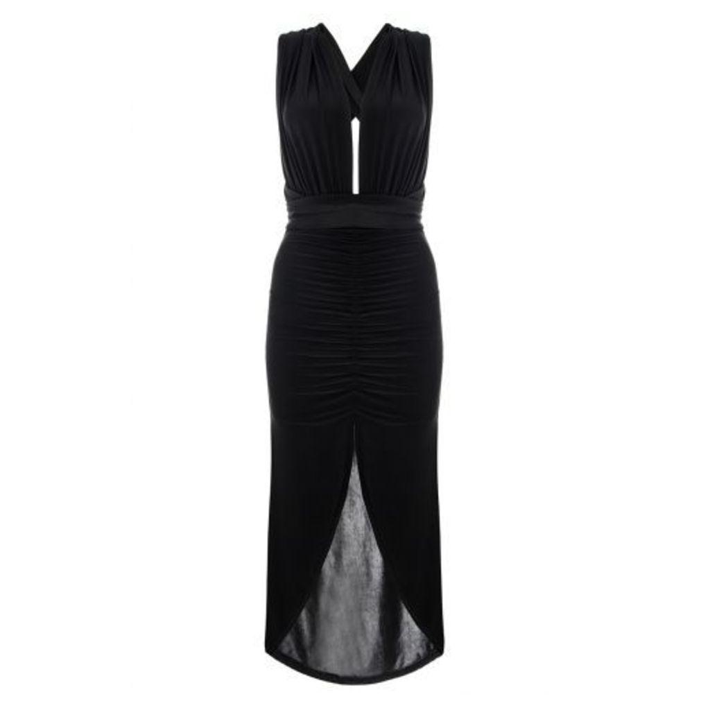 Black Slinky Multi Wrap Ruched Dip Dress
