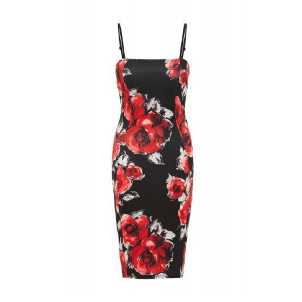 Black And Red Floral Print Bodycon Dress
