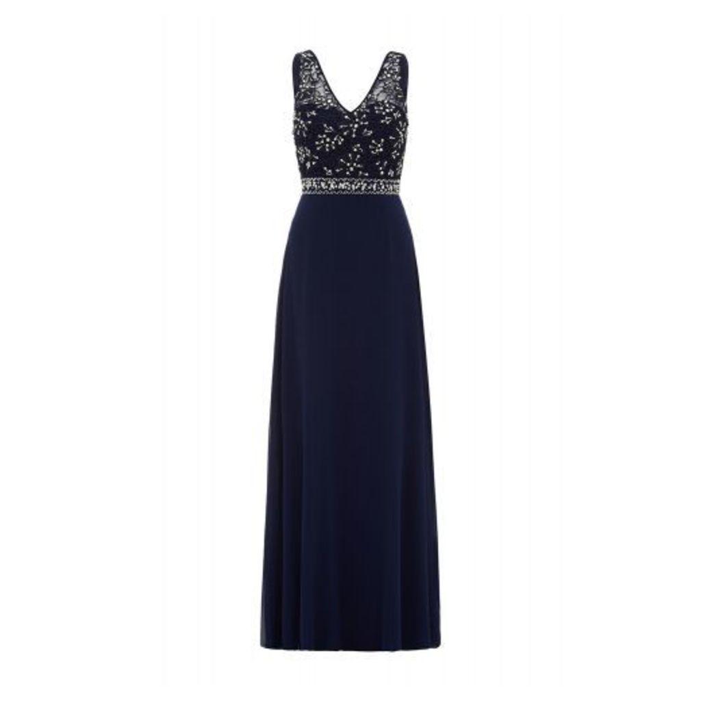 Navy Chiffon Diamante Maxi Dress