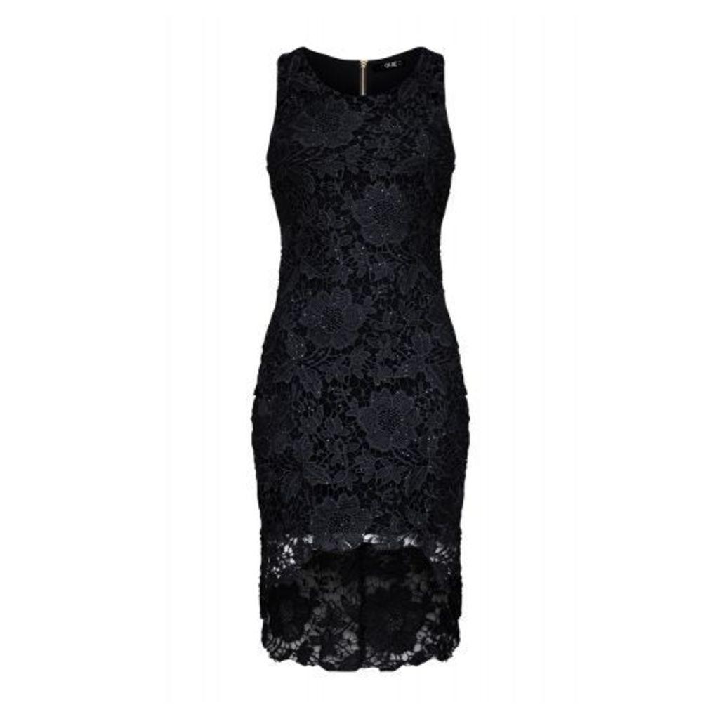 Black Dip Hem Lace Dress