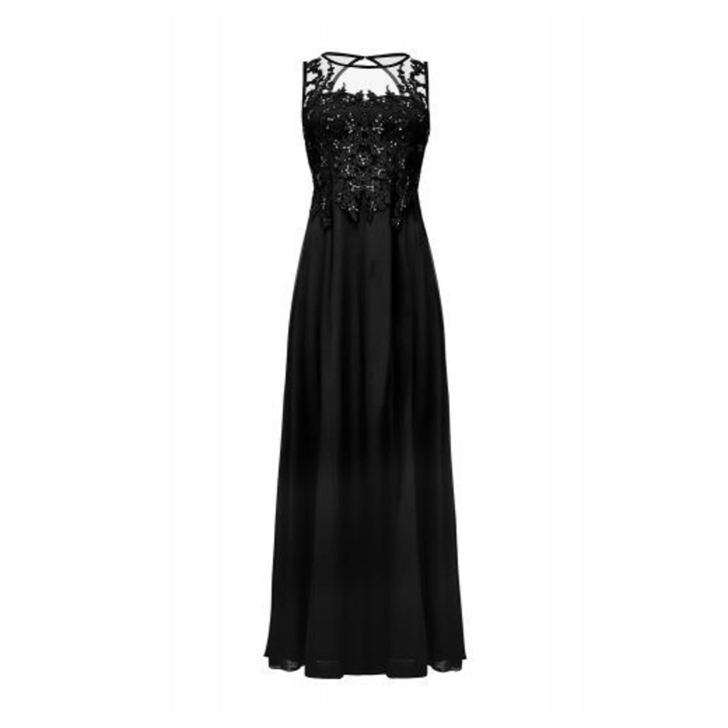 Black Lace Sequin Maxi Dress