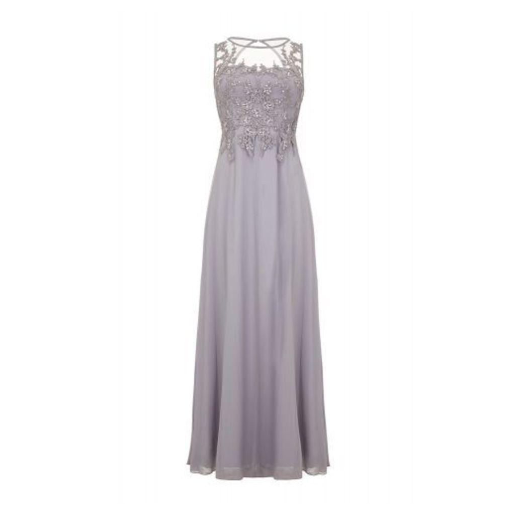 Grey Lace Sequin Maxi Dress