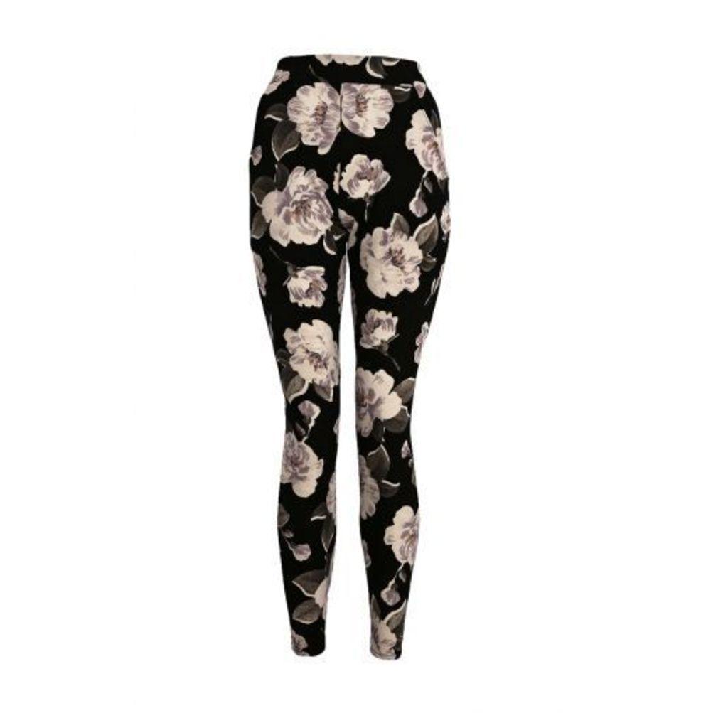 Black And Khaki Crepe Flower Print Trousers
