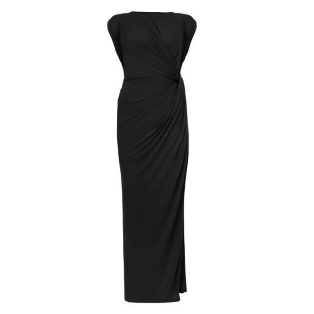 Black Slinky Knot Front Maxi Dress