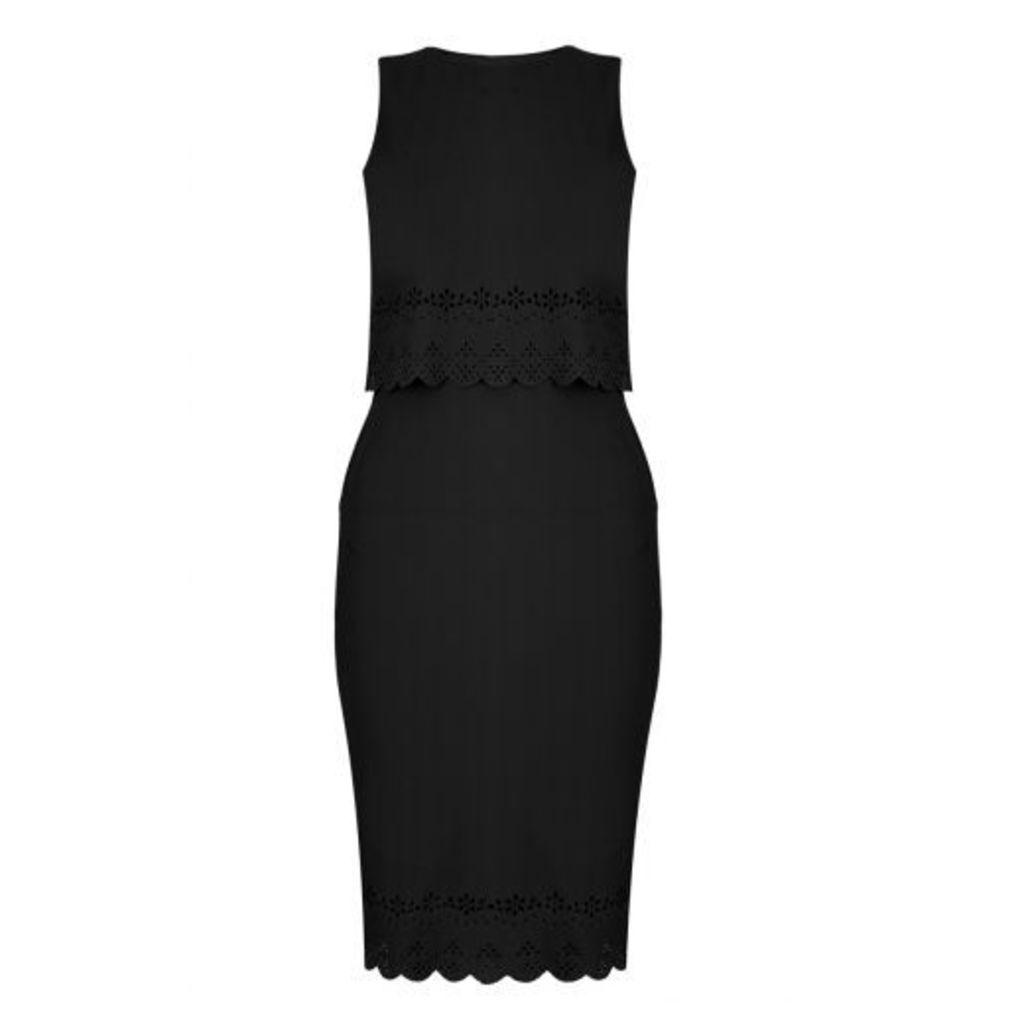 Black Crepe Laser Cut Bodycon Dress