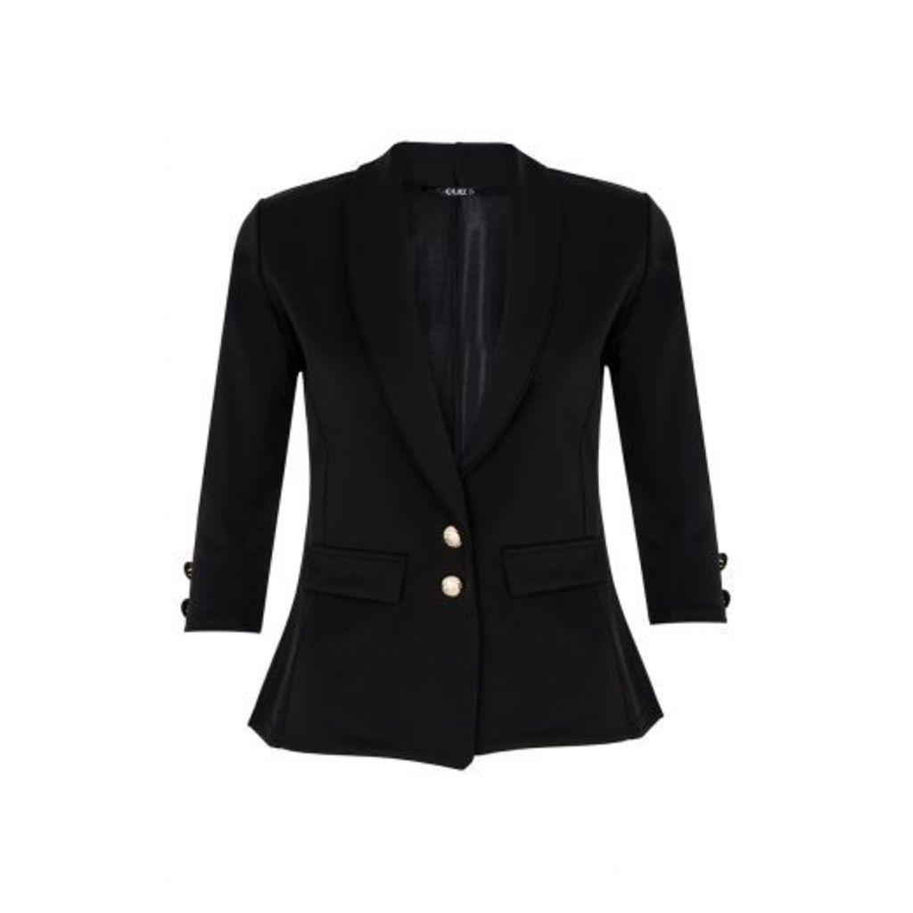 Black Gold Button Blazer