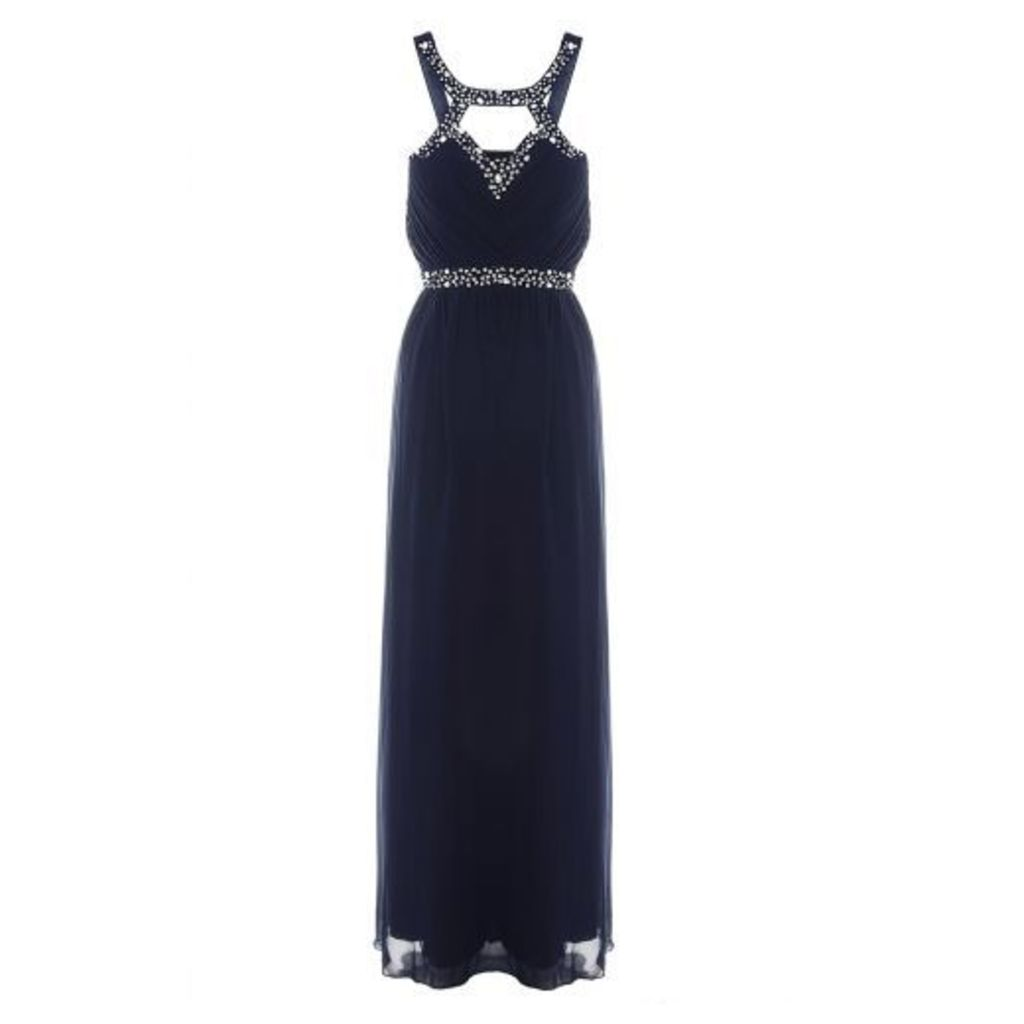Navy And Silver Sweetheart Maxi Dress