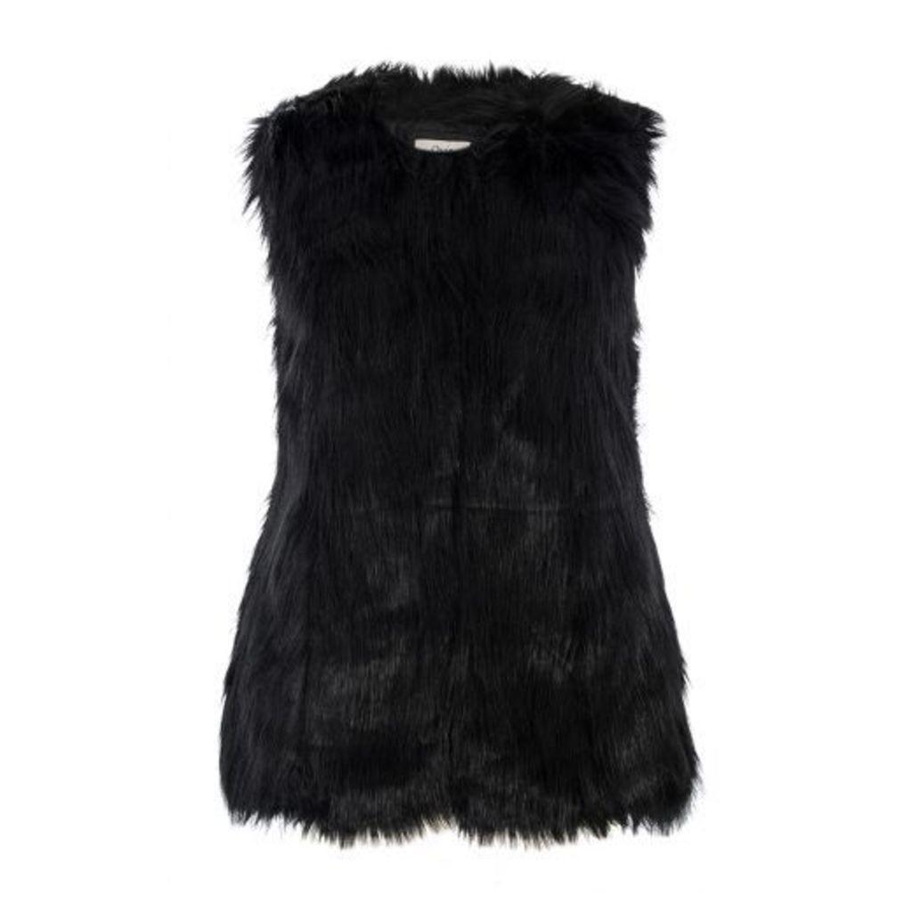 Black Sleeveless Faux Fur Gilet