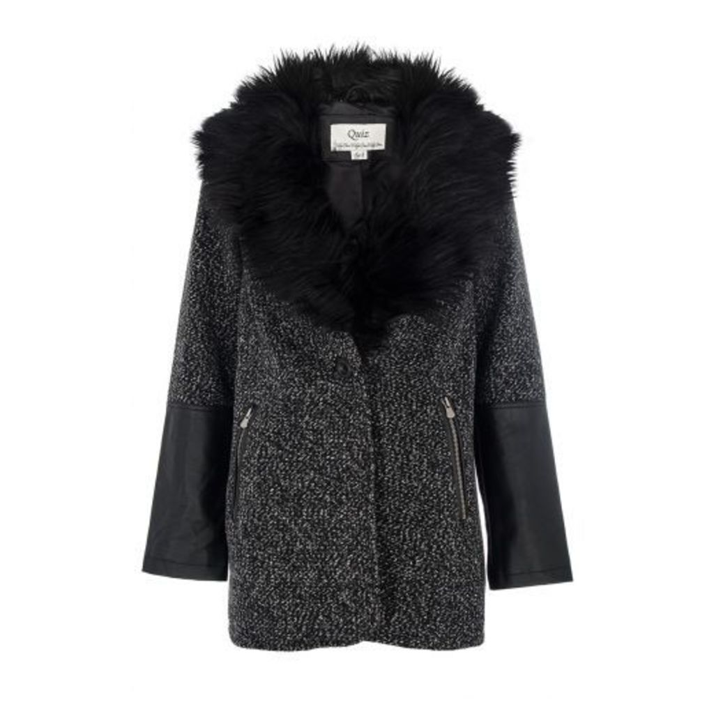 Grey Fur Collar PU Trim Jacket