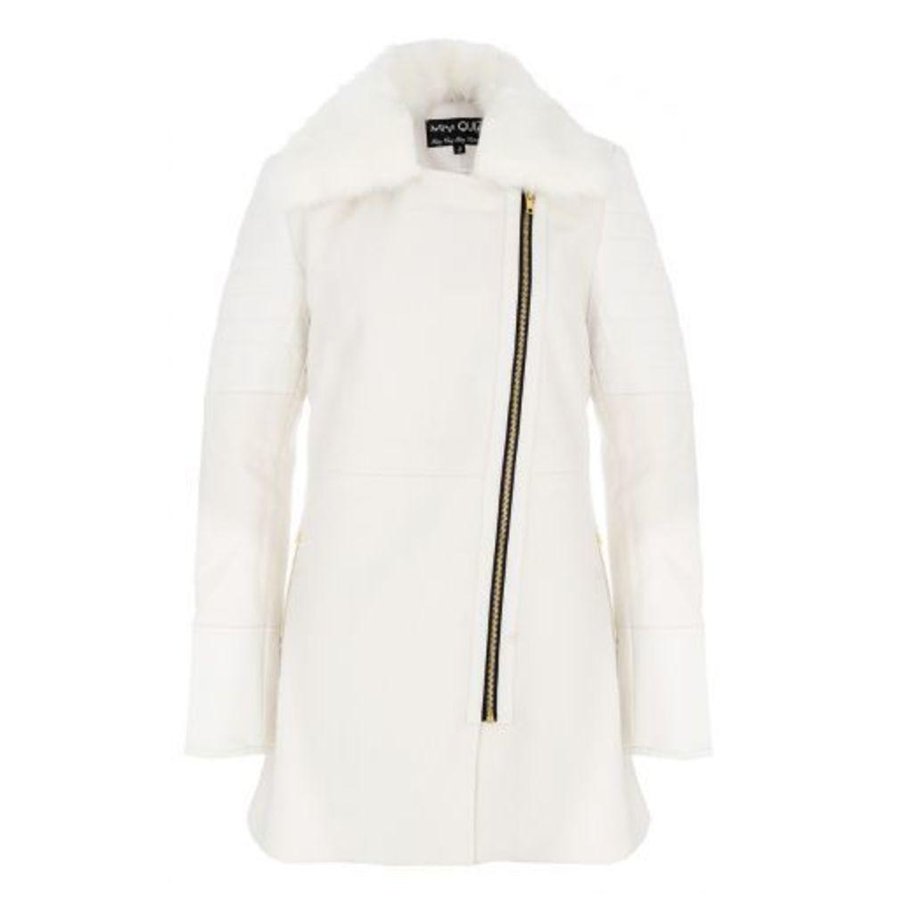 White PU Wool Faux Fur Collar Jacket