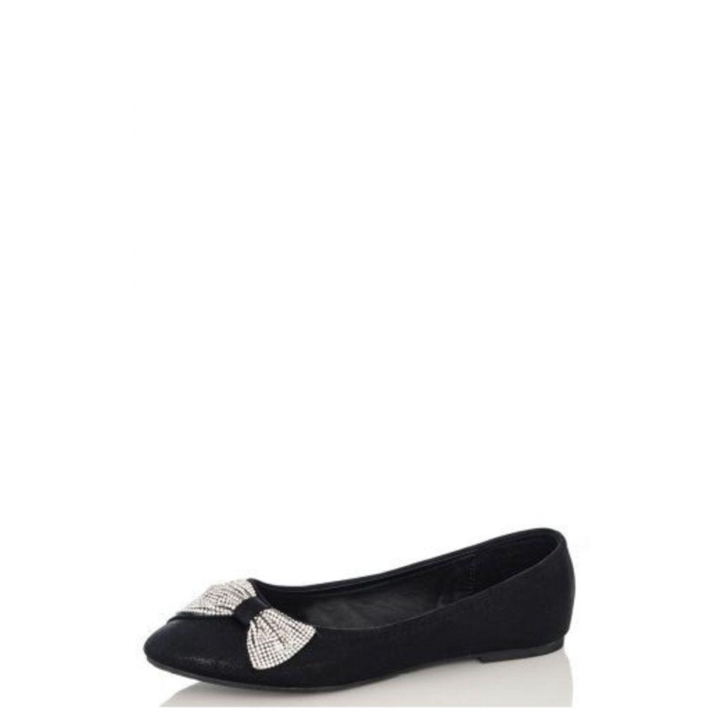Black Diamanté Shimmer Bow Pumps