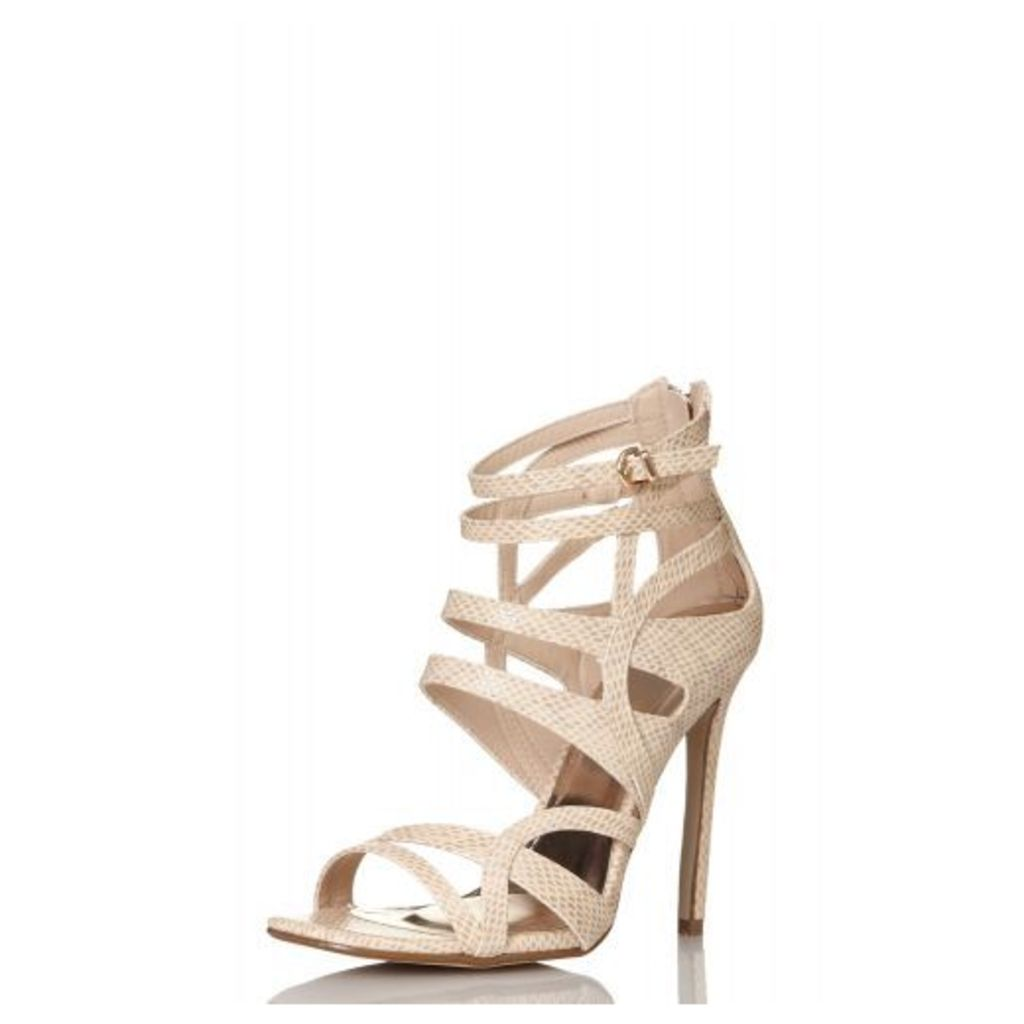 Nude Lizard Cut Out Strap Sandals
