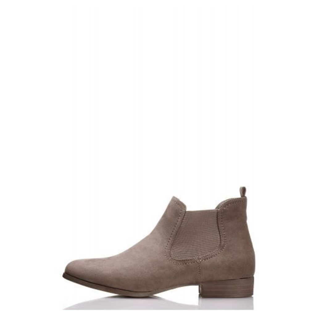 Taupe Faux Suede Ankle Boot
