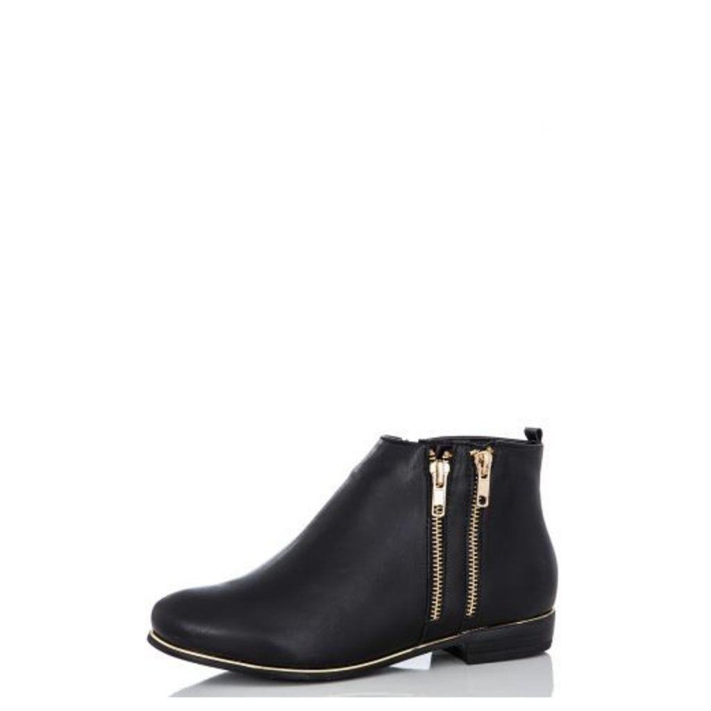 Black PU Zip Ankle Boots