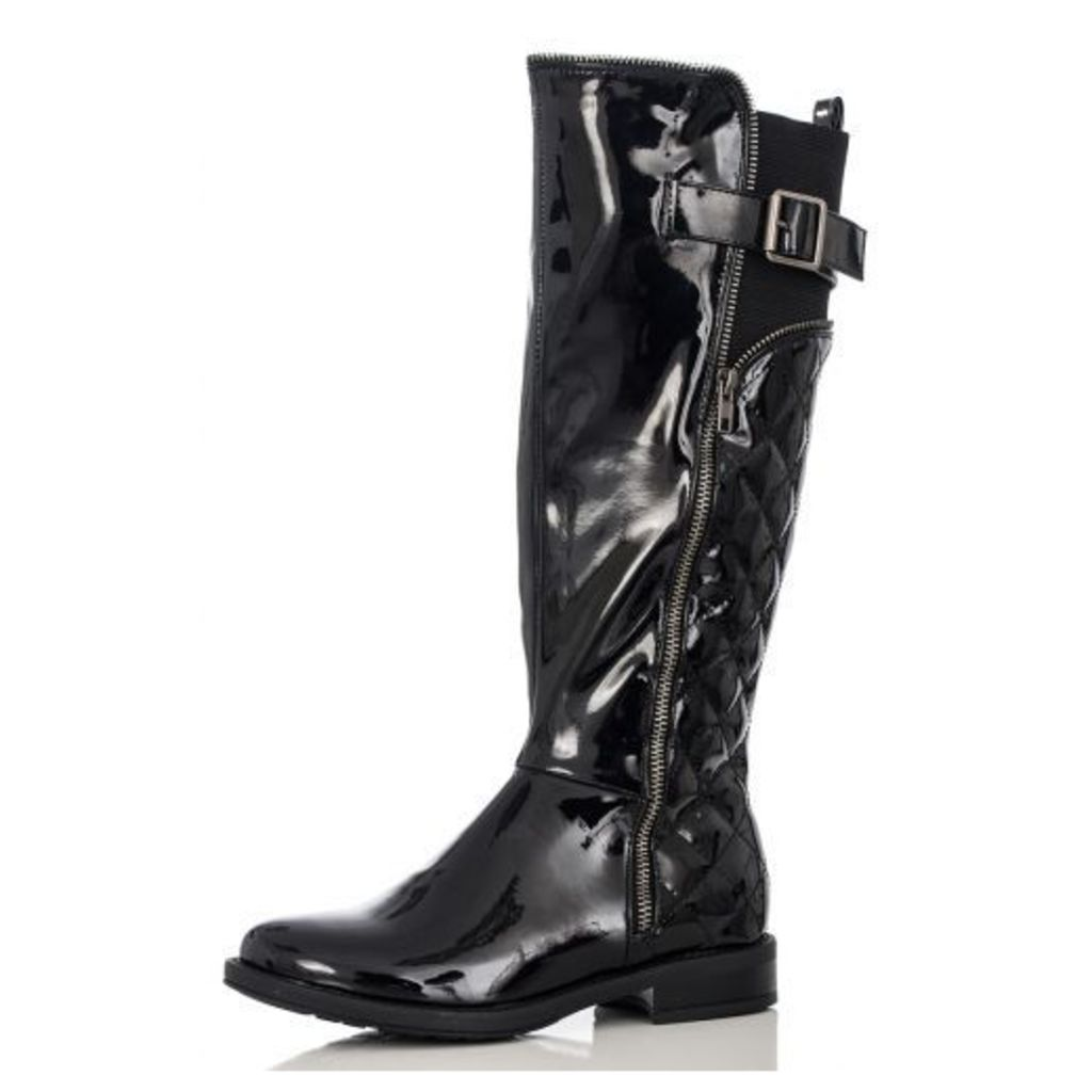 Black Patent Quilted Long Boots