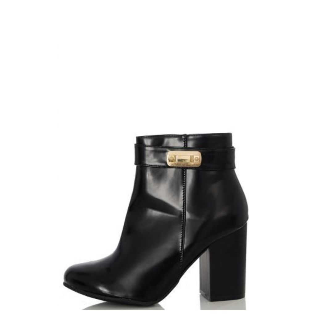 Black PU Gold Trim Ankle Boots