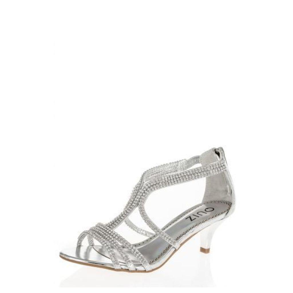 Silver Multi Strap Diamante Sandals