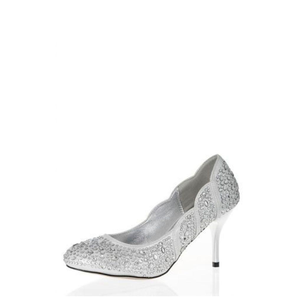 Silver Diamante Shoes