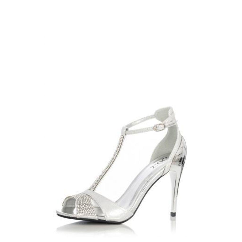 Silver Diamante T-Bar Embellished Sandals