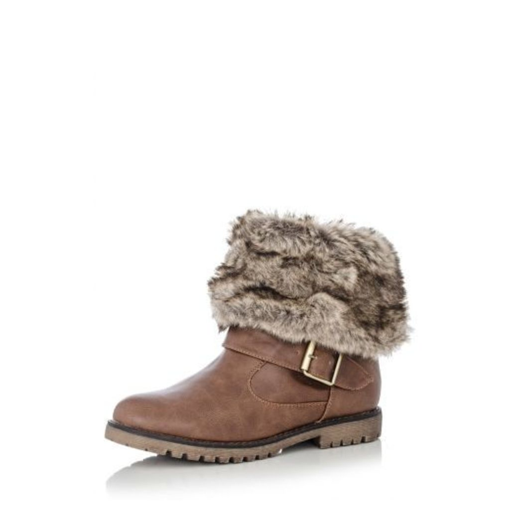 Tan Faux Fur Trim Ankle Boots