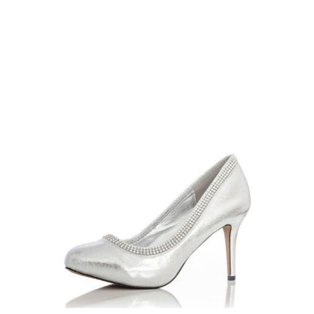 Silver Shimmer Diamante Rim Shoes
