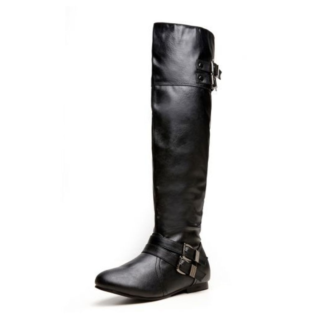 Black PU Over The Knee Boots