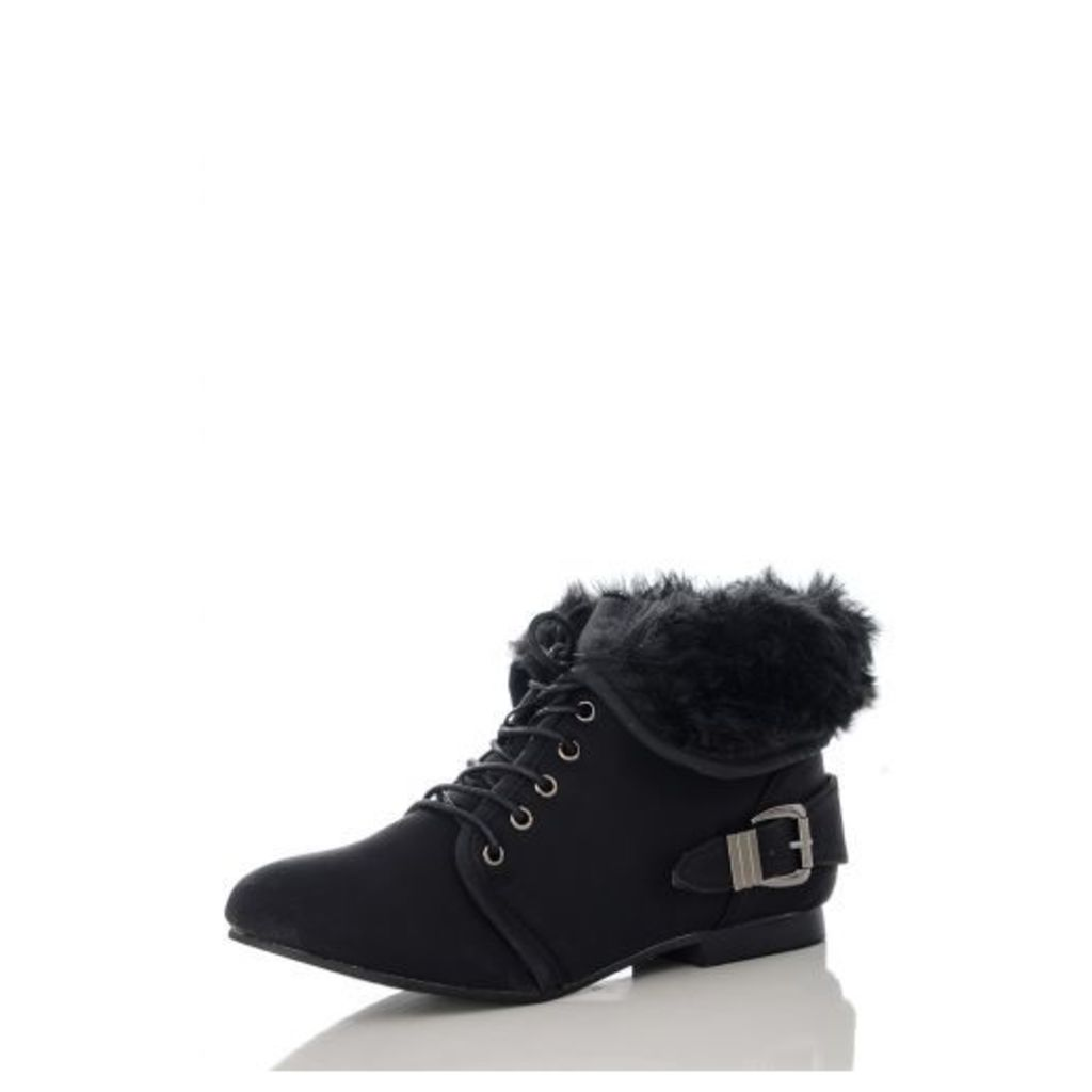 Black Fur Collar Ankle Boots