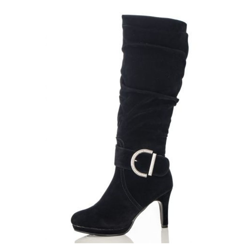 Black Large Buckle Calf Length Boots