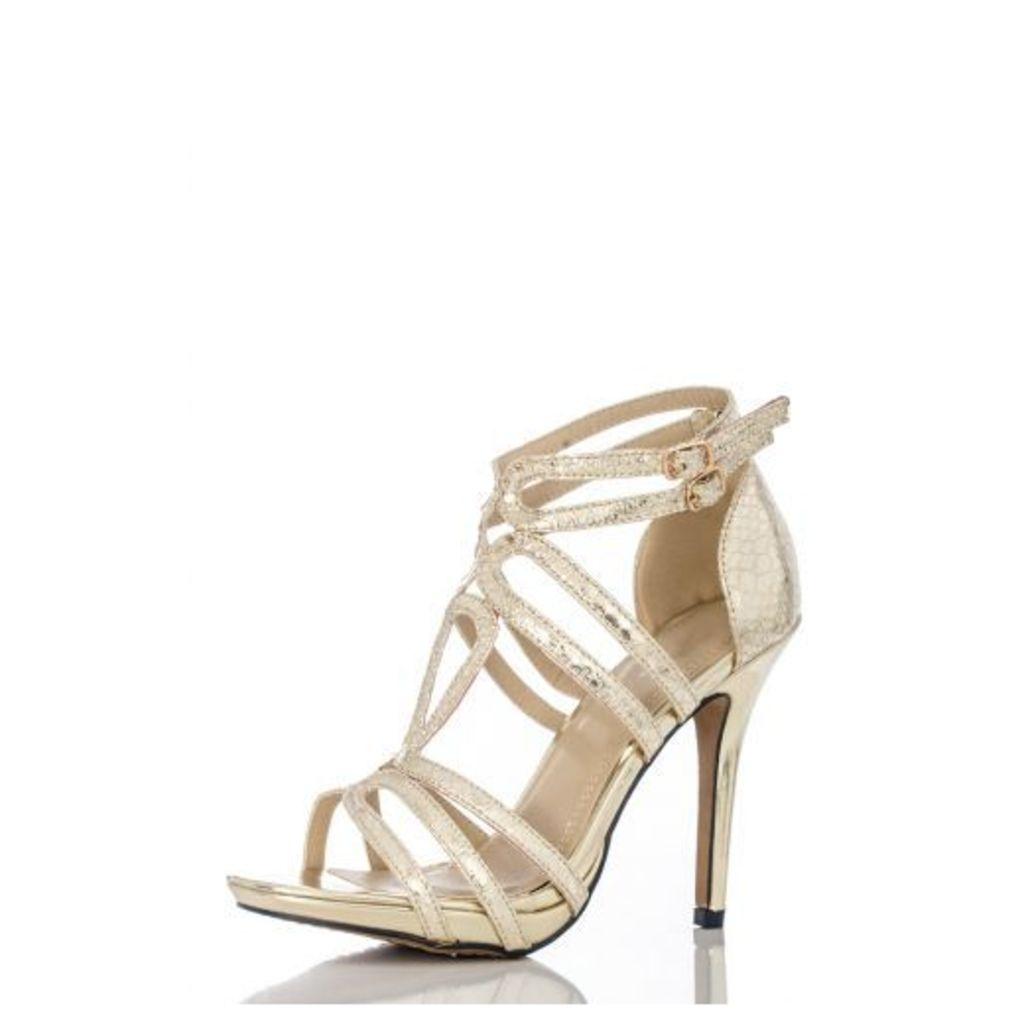 Gold Snake Loop Strap Sandals