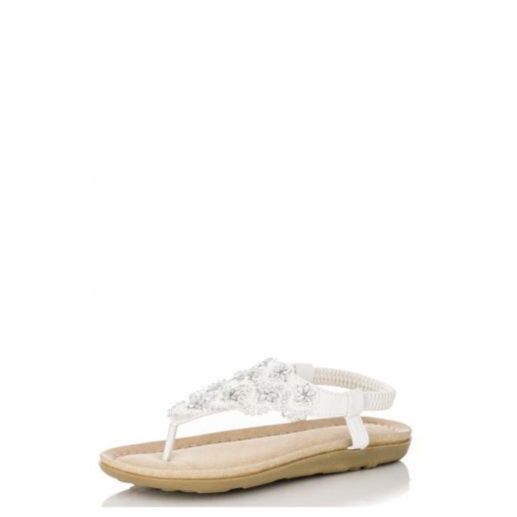White Diamante Flower Flat Sandals