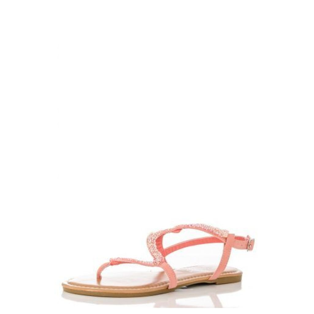 Pink Facet Zig Zag Sandals