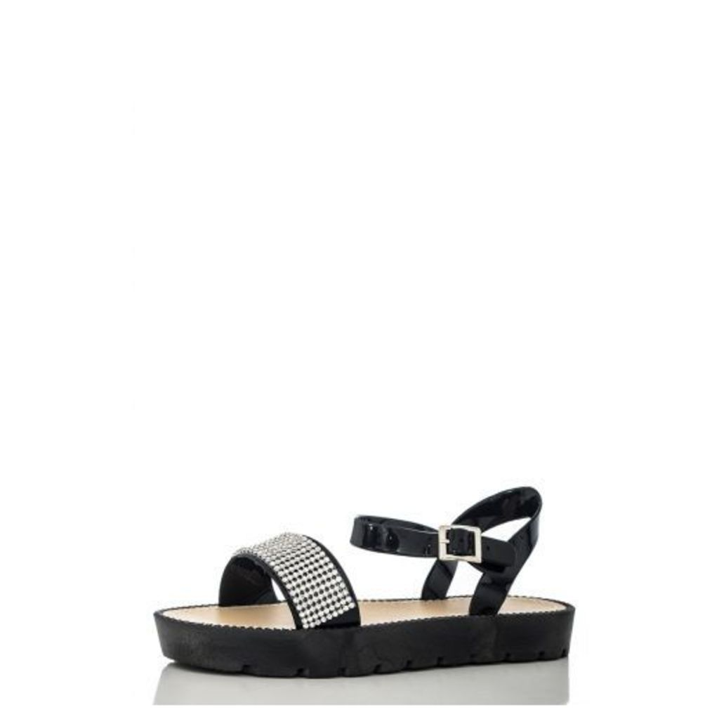 Black Diamante Trim Flat Sandals