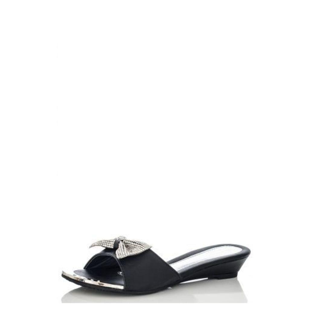 Black Diamante Bow Low Wedge Sandals