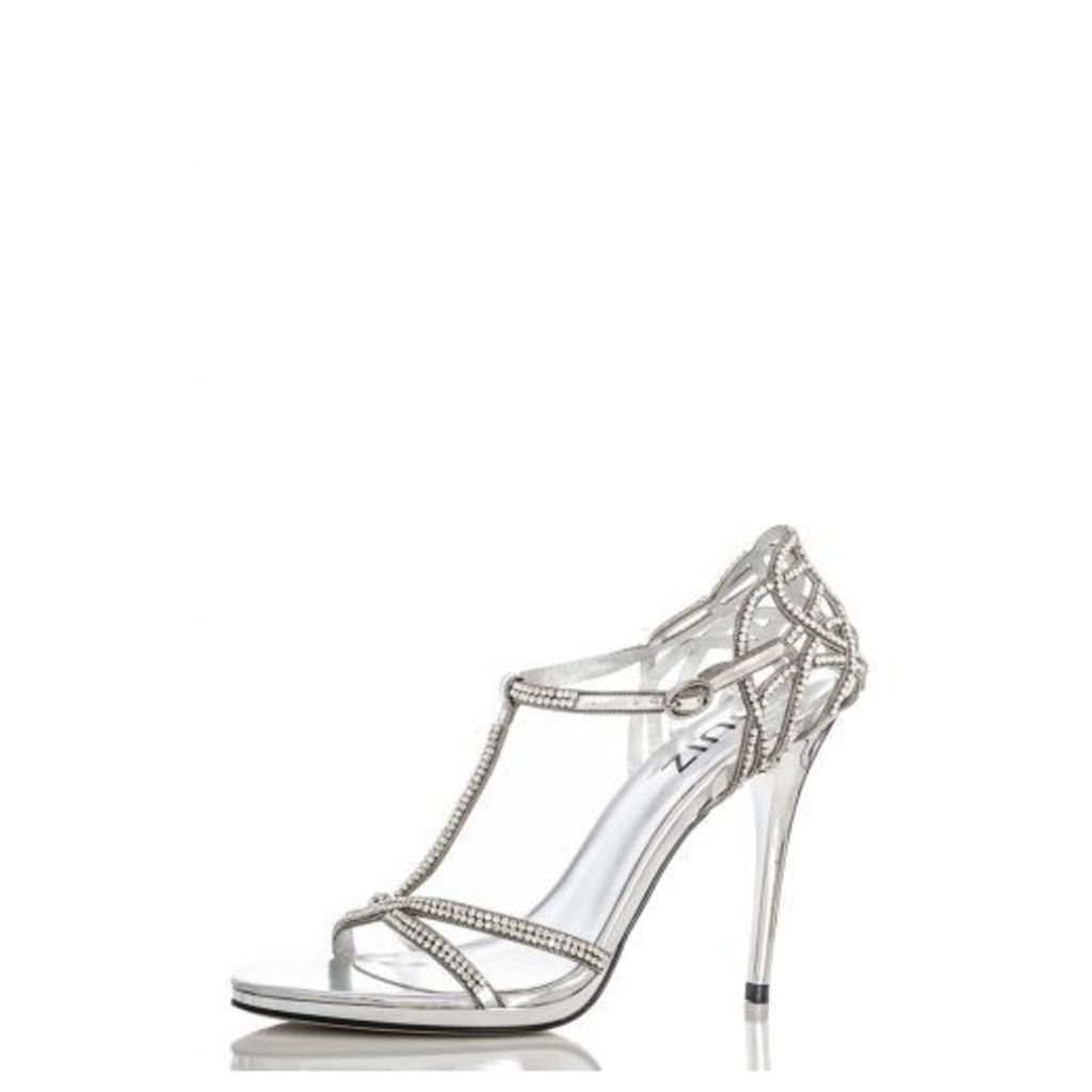 Silver T-Bar Cage Back Sandals