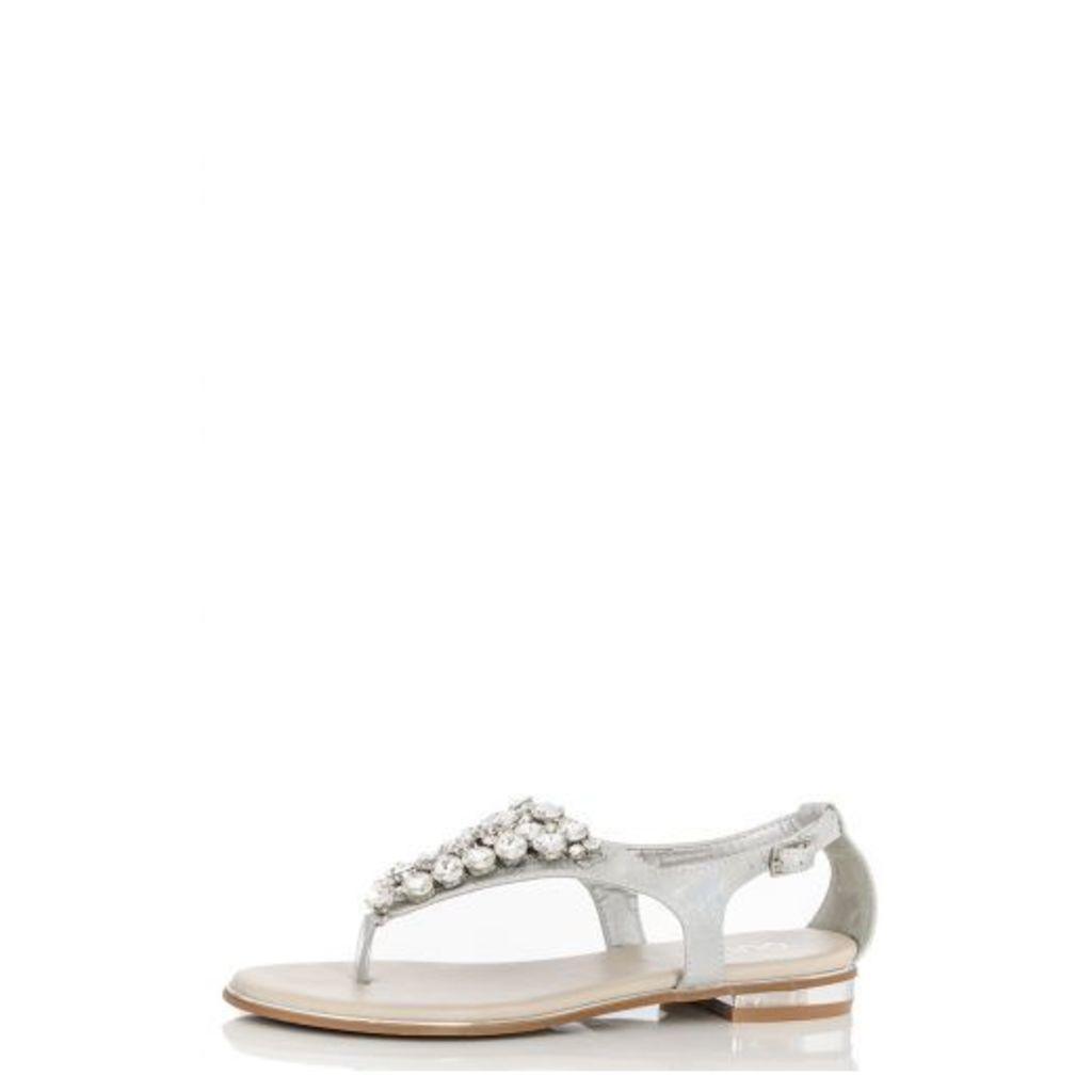 Silver Round Diamantes Sandals