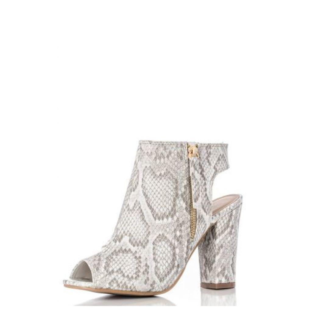 Beige Snake Peep Toe Cut Block Heels