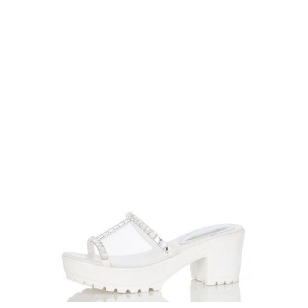 White Mesh Diamanté Shoes
