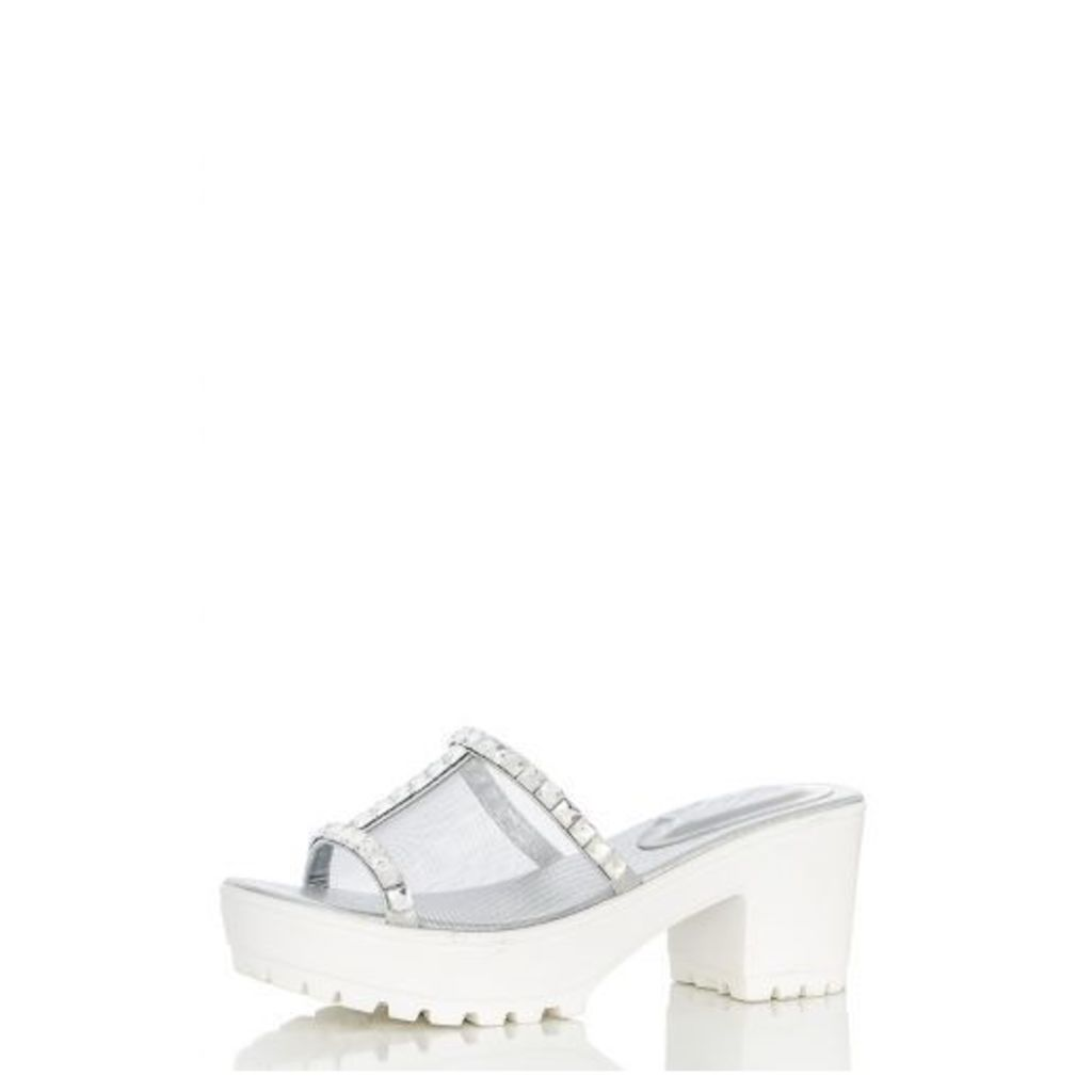 Silver Mesh Diamanté Shoes