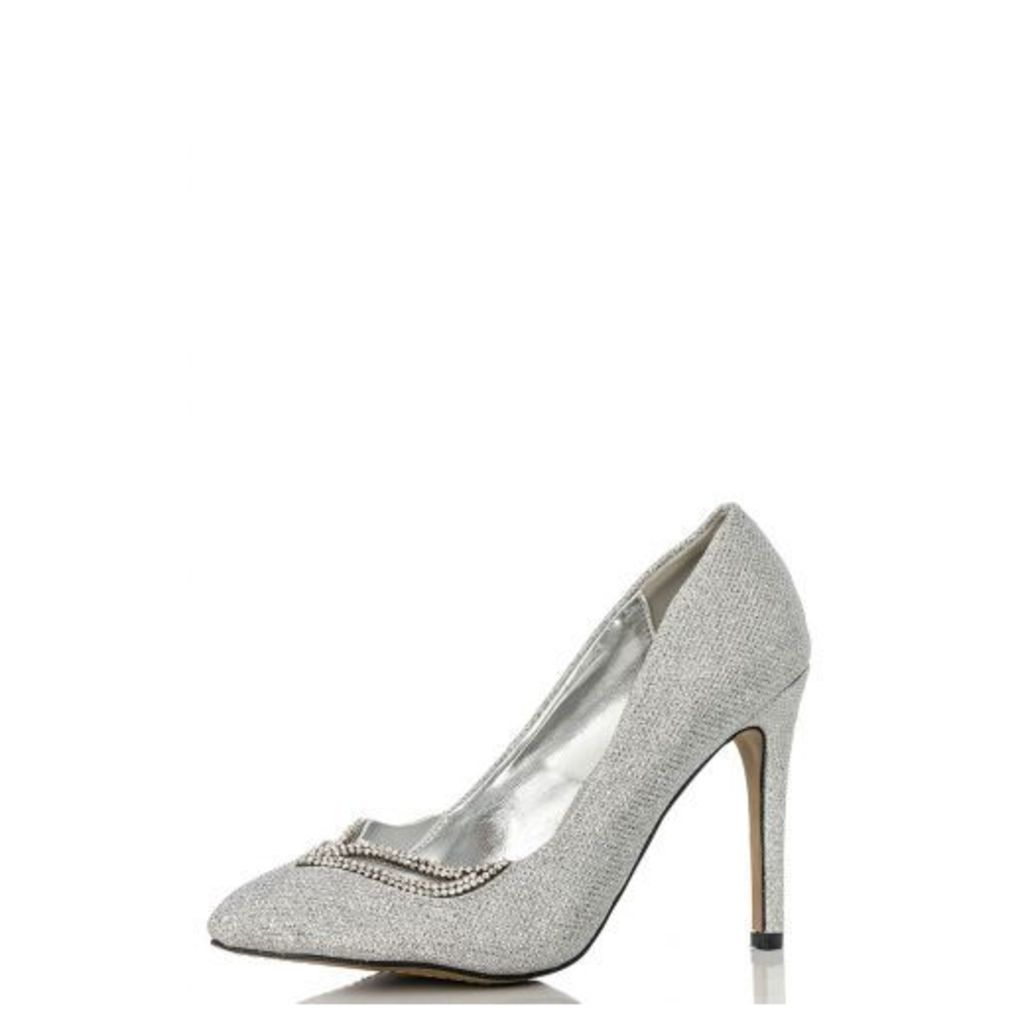 Silver Shimmer Diamante Point Shoes