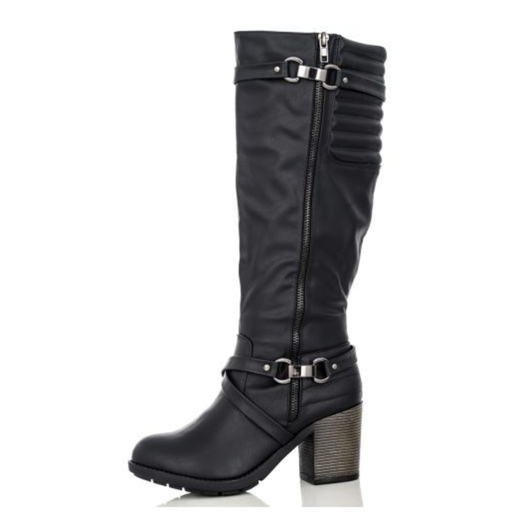Black Quilted Long Boots