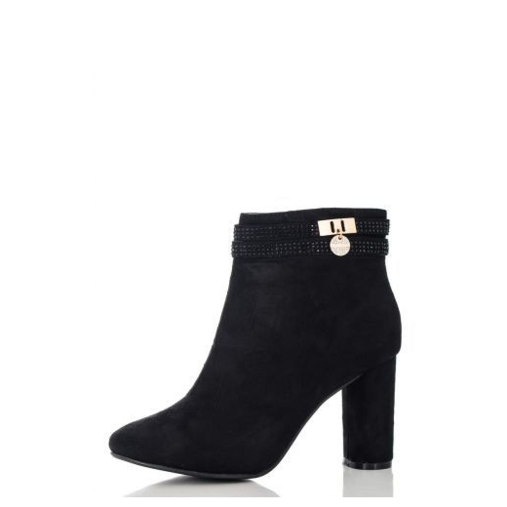 Black Diamante Strap Ankle Boots