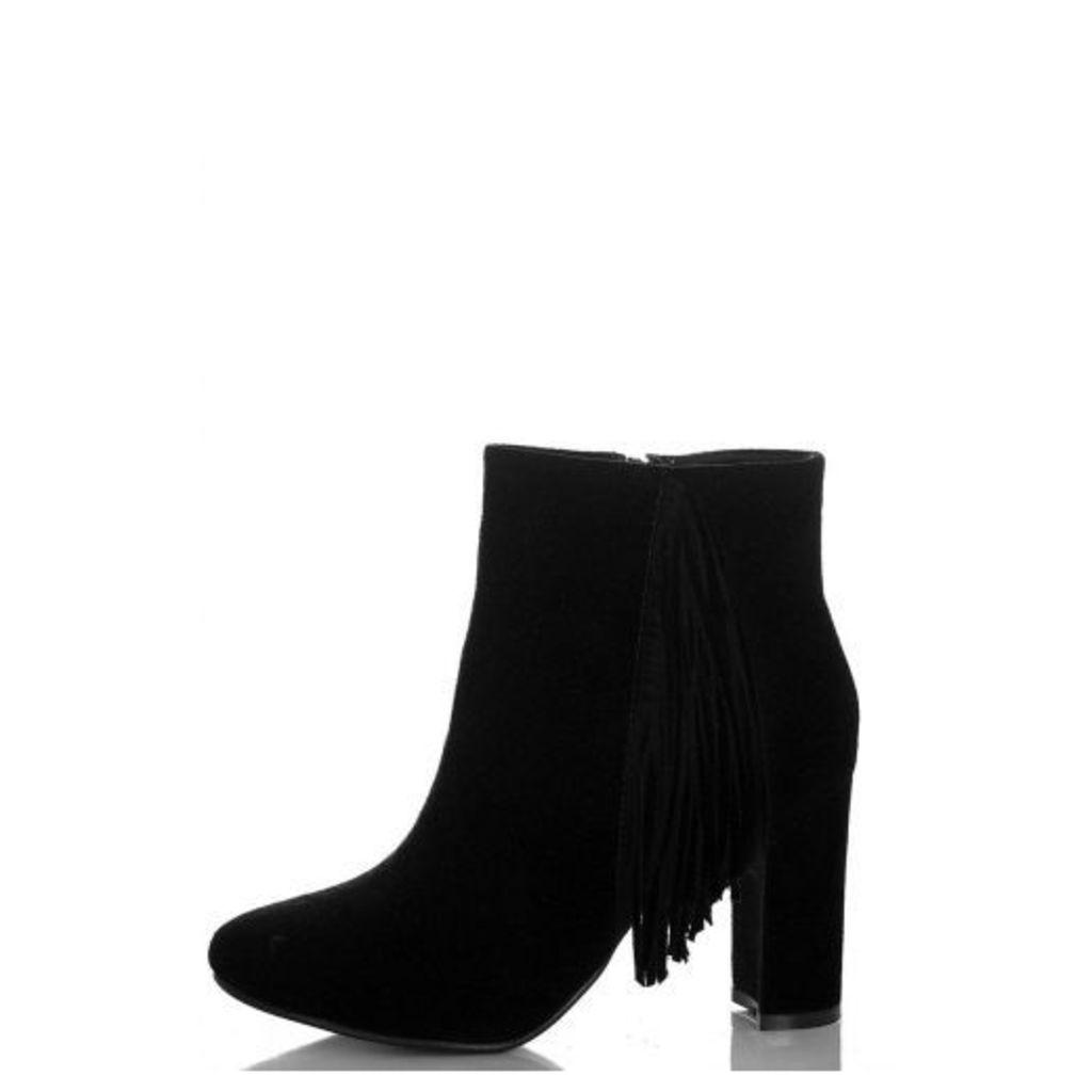 Black Tassel Block Heel Ankle Boots