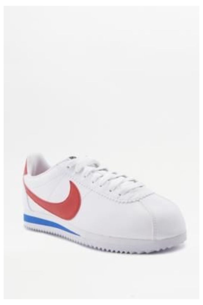 Nike Cortez White Red And Blue Leather Trainers, WHITE